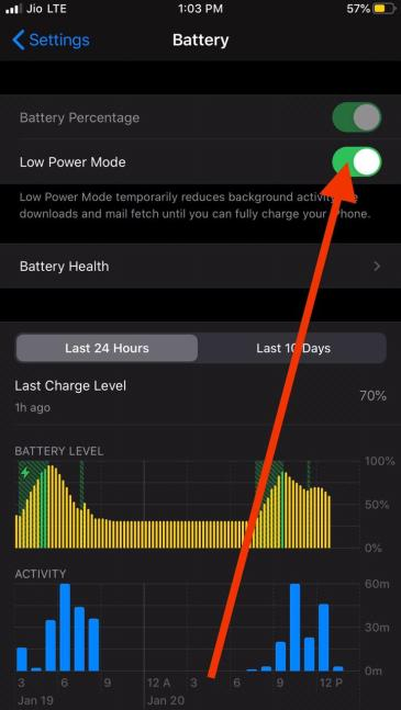 Enable Low Power mode in iPhone to save battery