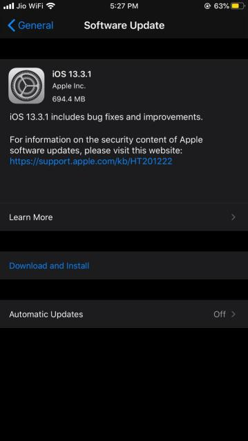 Download Software Update iPhone using Mobile data