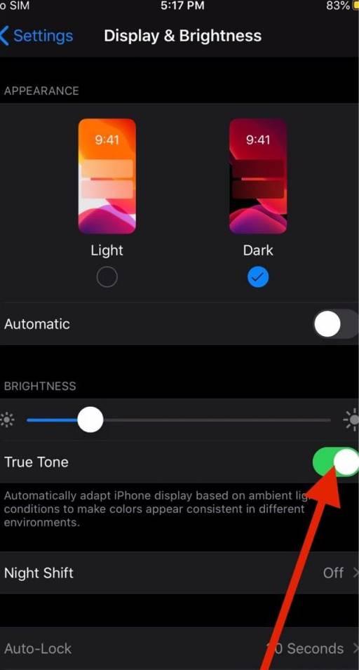 Turn Off True Tone on iPhone iOS 13