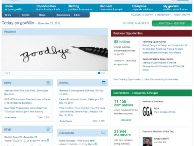 Goodbye - Picture of GovWin Website from November 2010