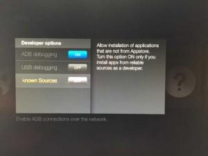 amazon firetv system developer options adb debugging hack kodi