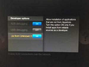 amazon firetv system developer options apps unkown sources hack kodi