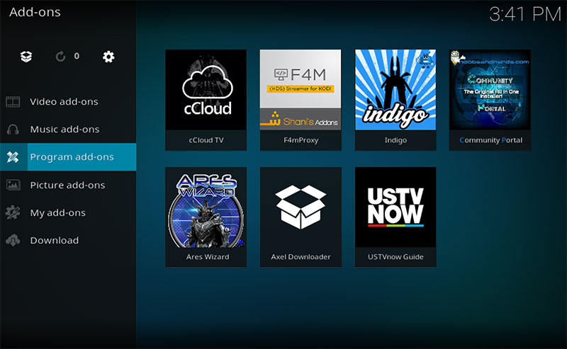 Kodi-krypton-open-program-addons-ares-wizard