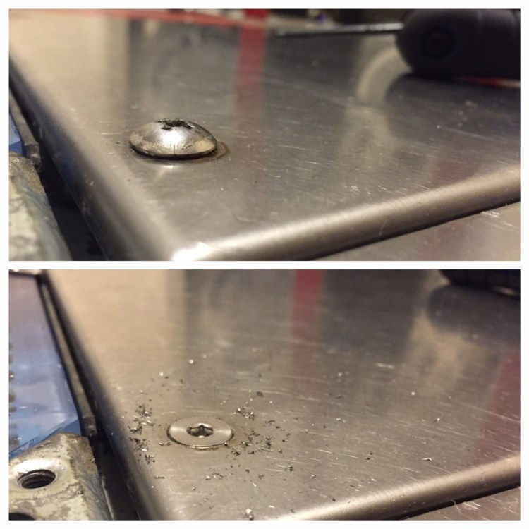 Before and after countersinking. Much better.