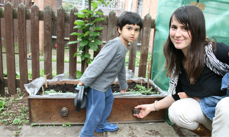 Barley Biswas and her son, Oisin on the Smalley Estate, Stoke Newington
