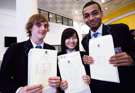 Joe Martin, Sweet Lordson and Jabedur Rahman with their GCSE results