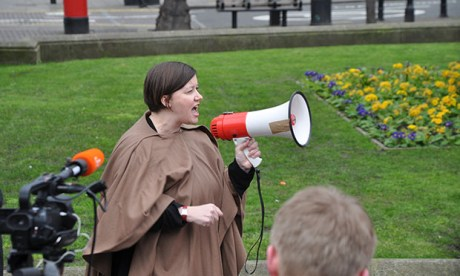 Protest: Meg Hillier MP pictured last year at a protest by renters group Digs Photograph: Digs