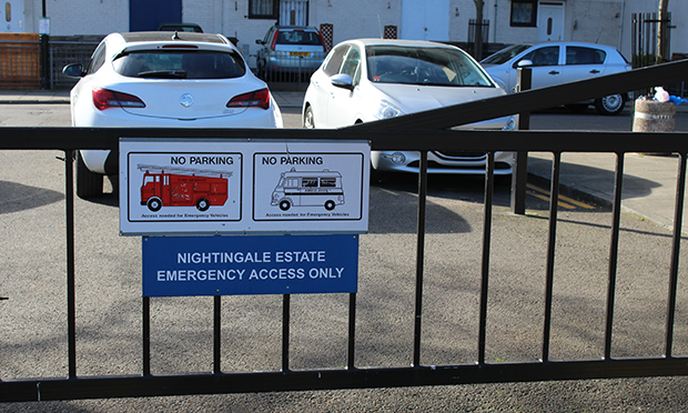 Cars blocking emergency access at Nightingale Estate