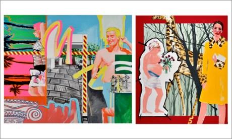 (L) David by Stella Kapezanou. Oil and acrylic on canvas. 170 x 210cm. £3,900. (R) The Girl in Miu Miu by Stella Kapezanou. Oil and acrylic on canvas. 210 x 170cm. £3,900