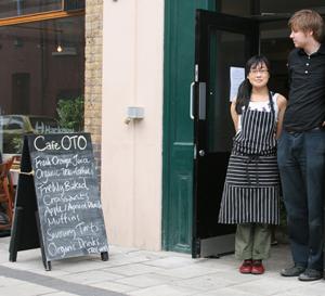 Keiko Yamamoto and Hamish Dunbar outside their cafe, Oto