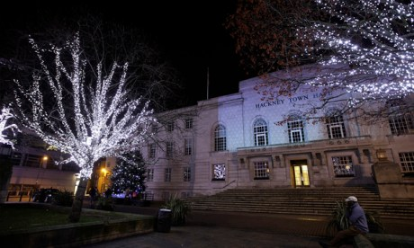 Hackney Town Hall, resplendent with festive lights. Photograph: Hackney Council