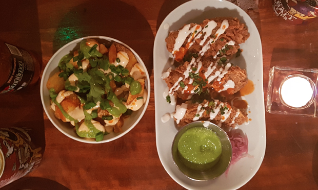 The 'chicken' wings and cubed aubergine at Club Mexicana.