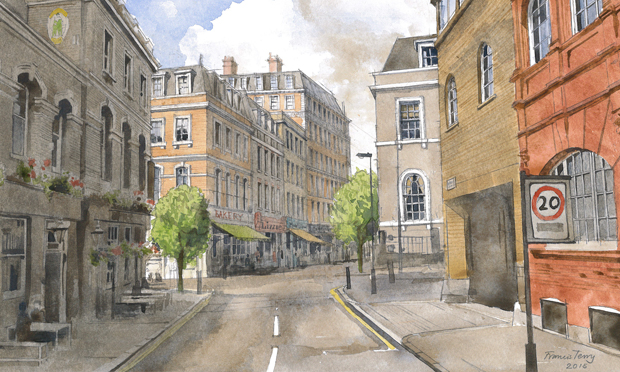Create Streets - Mount Pleasant. Watercolour by Francis Terry
