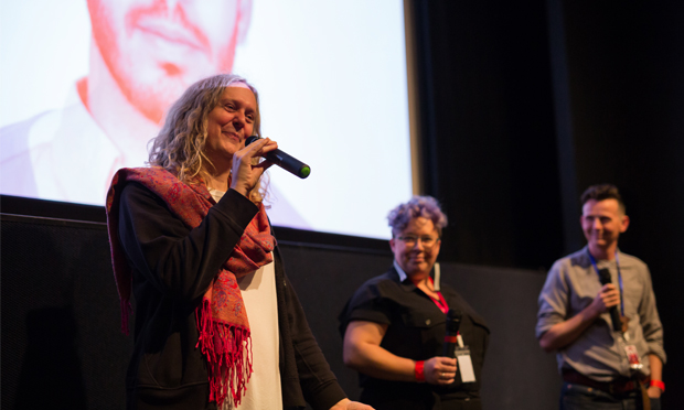 Talking shop: Muffin Hix and Kai Fiain from the festival discuss The Misandrists with academic Mijke Drift. Photograph: Fringe! Queer Film and Arts Festival