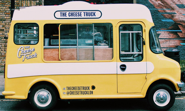 The Cheese Truck (two converted 1970 Bedford vans serving grilled cheese sandwiches) are one of the street food outlets to be hosted by The London Cheese Project