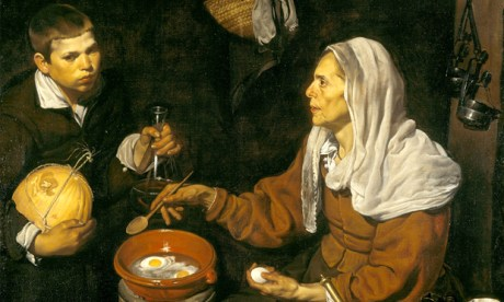 Diego Velázquez's Vieja friendo huevos (Old Woman Frying Eggs), 1618