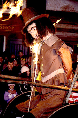 Guy Fawkes feels the heat at Lewes fireworks. Photograph © Andrew Dunn