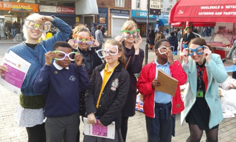 A Hackney Pirates trip to Ridley Road market, complete with 'future glasses.' Photograph: Hackney Pirates