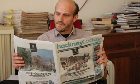 Josh Loeb enjoys the latest issue of Hackney Today, which features a wraparound ad for Spitalfields