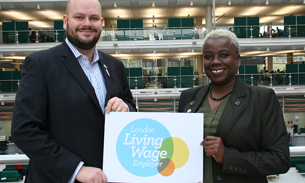 Do as they do: Philip Glanville with Councillor Carole Williams highlighting the wage issue
