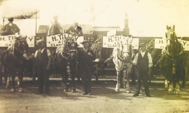 Lower Clapton's Tilleys coal men and carts, c.1940. Photograph: Jean Tilley