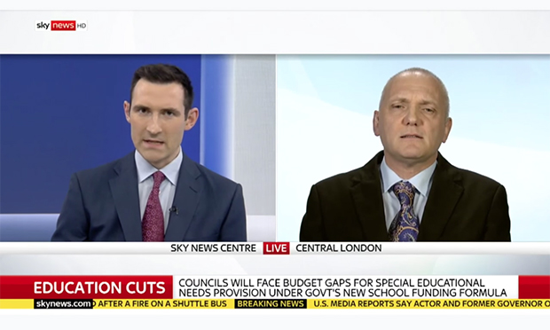 Peacock on Sky News, talking SEND cuts. Image: YouTube / Sky News