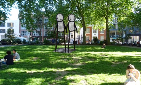 Intimacy: a mock-up of how Holding Hands will look once erected. Photograph: Hackney Council