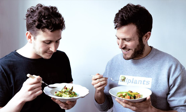 The guys from AllPlants enjoy some of their pre-made vegan dinners