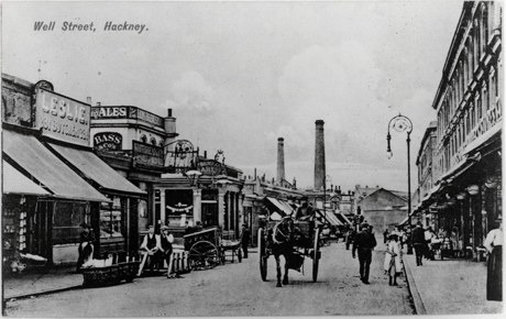 Well Street c1905. View north east from Cresset Road to Berger's Paint Factory. Photograph: Hackney Archives