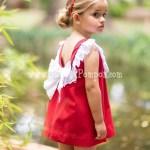 Vestido Rojo Puntilla Blanca