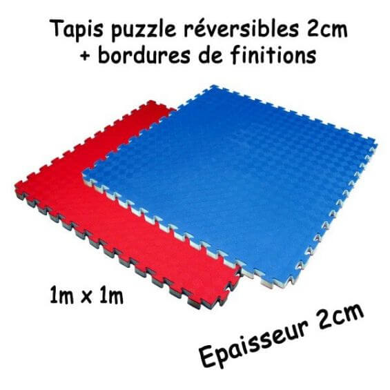 tapis puzzle reversible 2cm bleu rouge