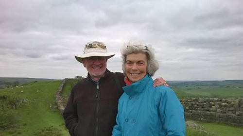 David and Karen on the great stretch of Wall at Walltown Crags