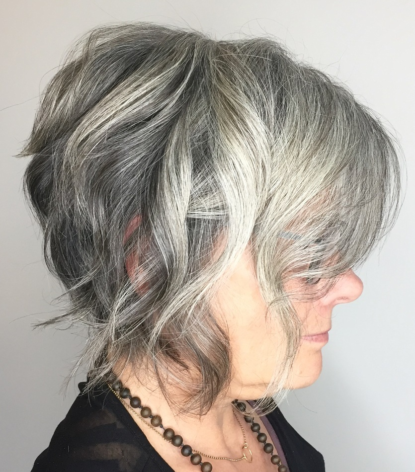 Short Gray Wavy Inverted Bob over 50