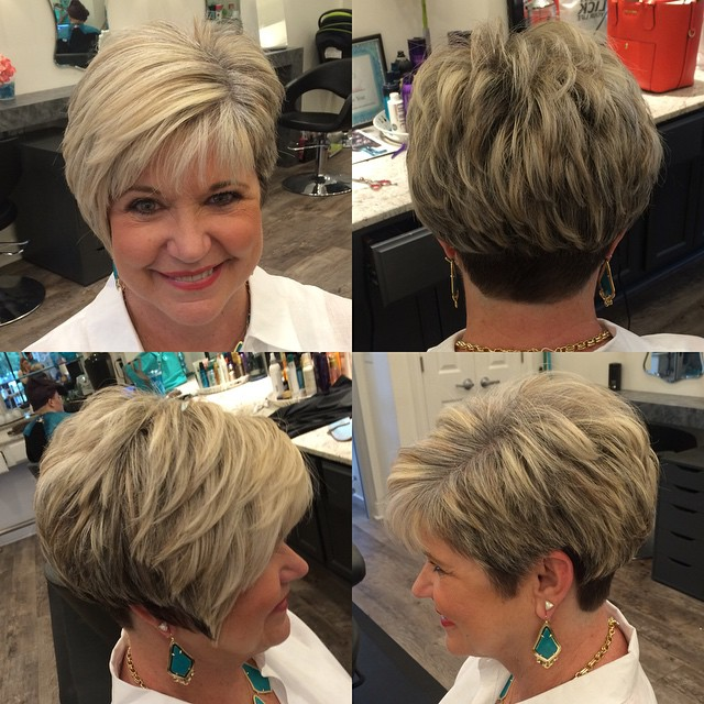 Brown and BLonde Layered Pixie with Nape Undercut over 60