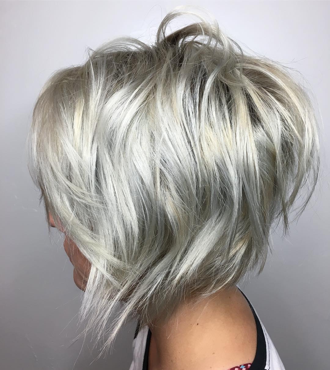 Inverted Layered Silver Shaggy Bob