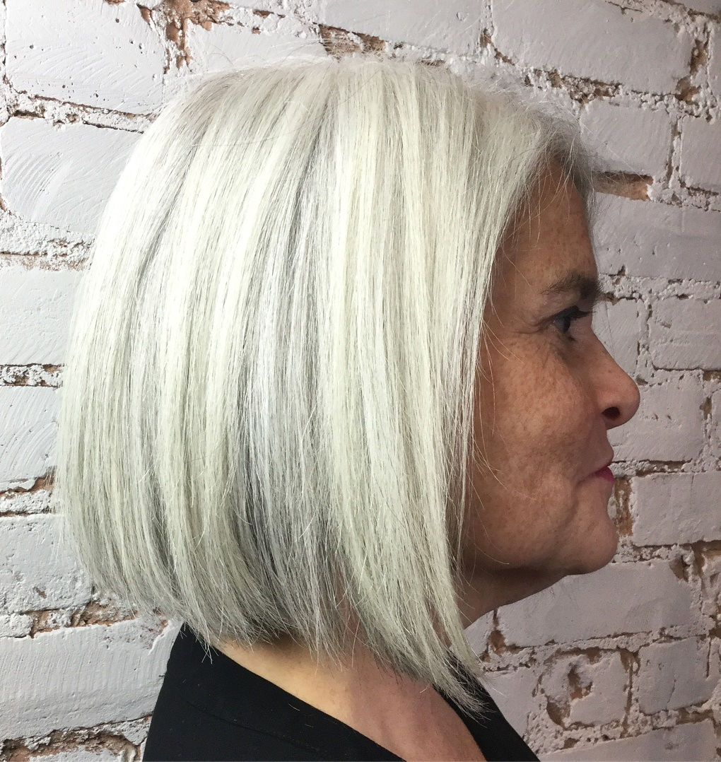 Silver Gray Bob for Older Women