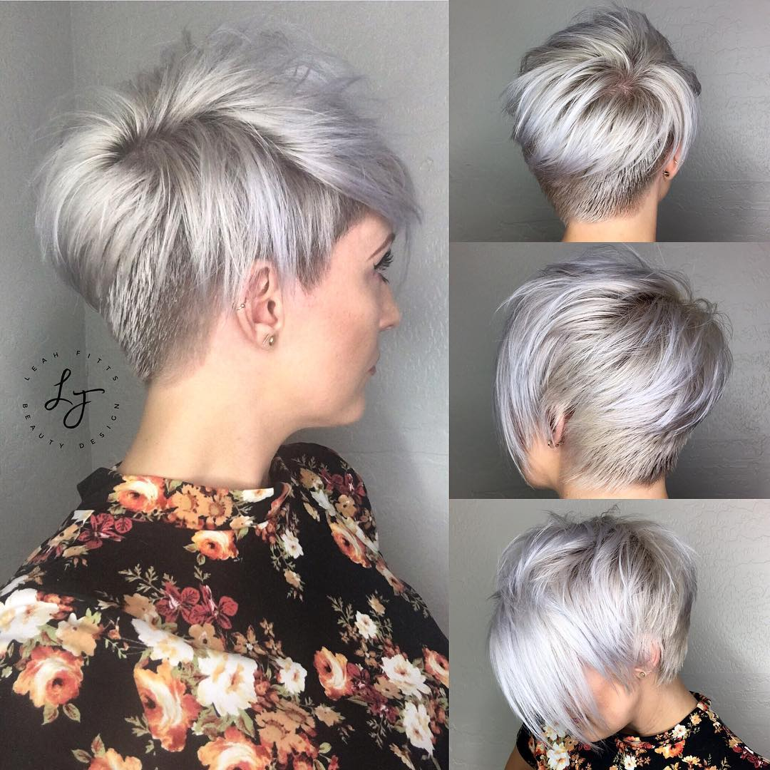 Tapered Silver Pixie with Long Bangs and Undercut