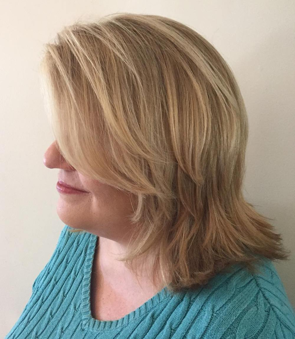 Medium Layered Haircut for Plus-Sized Women