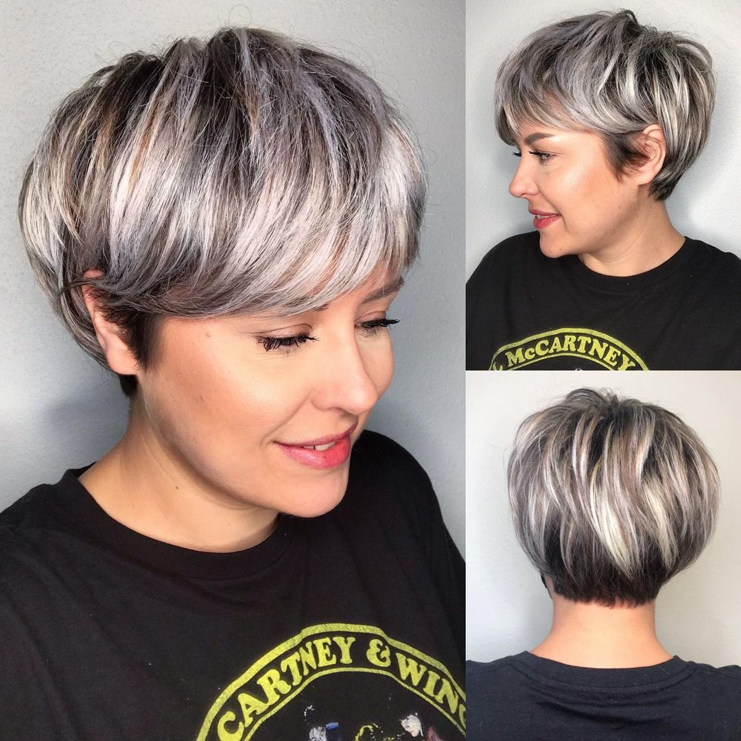 Short Hair Cut with Silver Balayage
