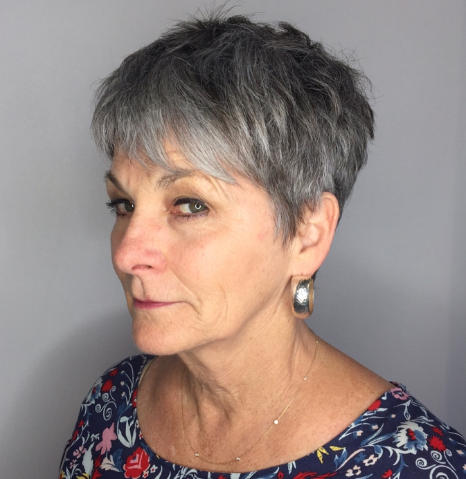 Short Choppy Gray Haircut for Older Women