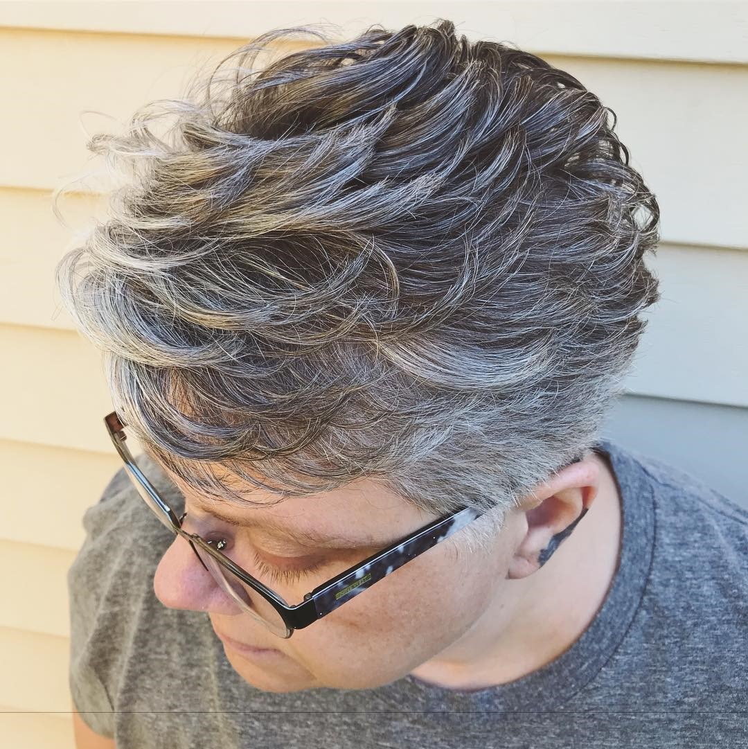 Over 60 Very Short Gray Feathered Cut
