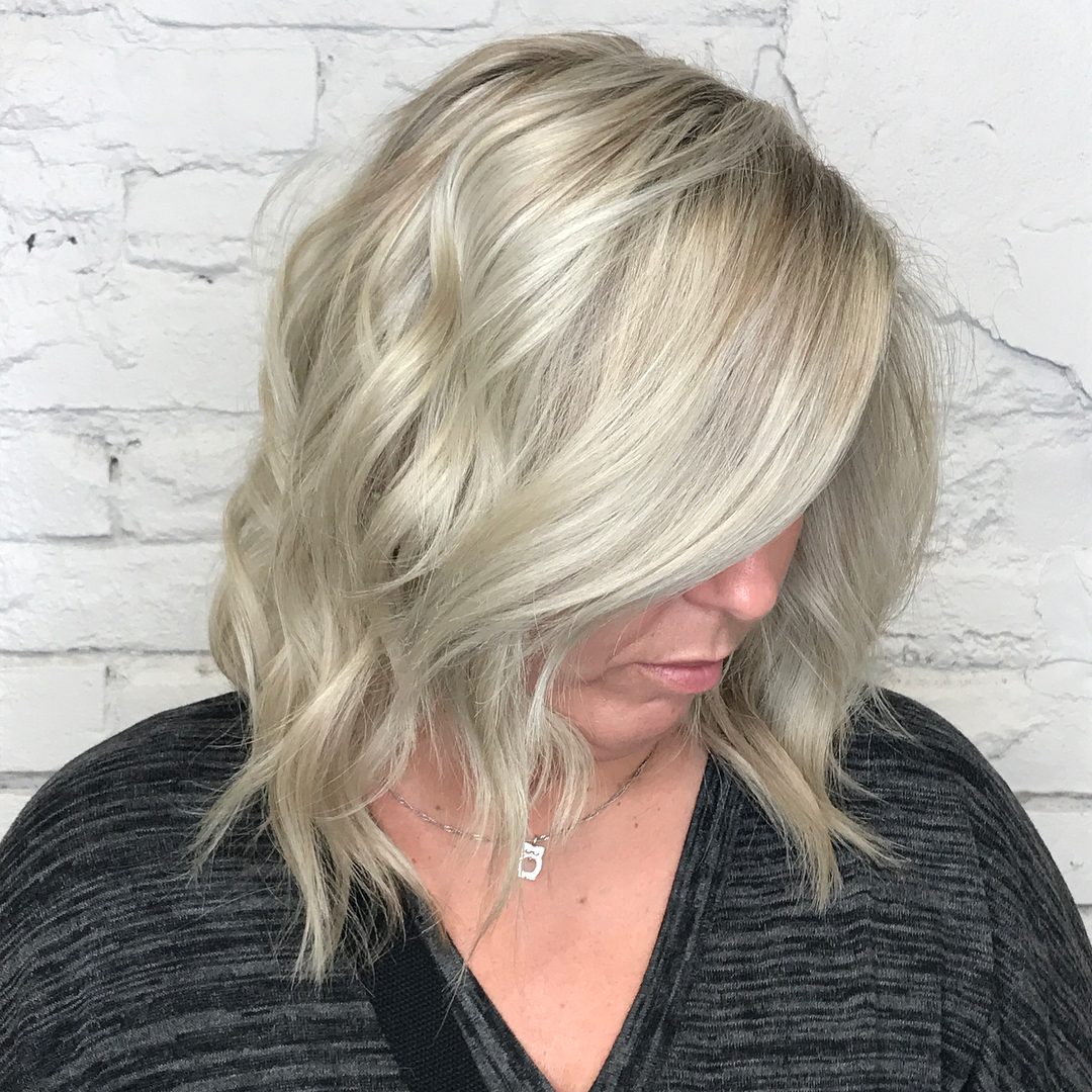 Wavy Ash Blonde Long Bob 50 Plus