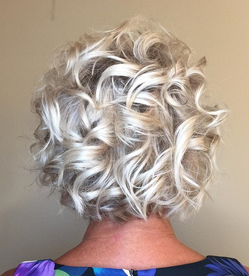 Silver Blonde Curly Bob for over 50