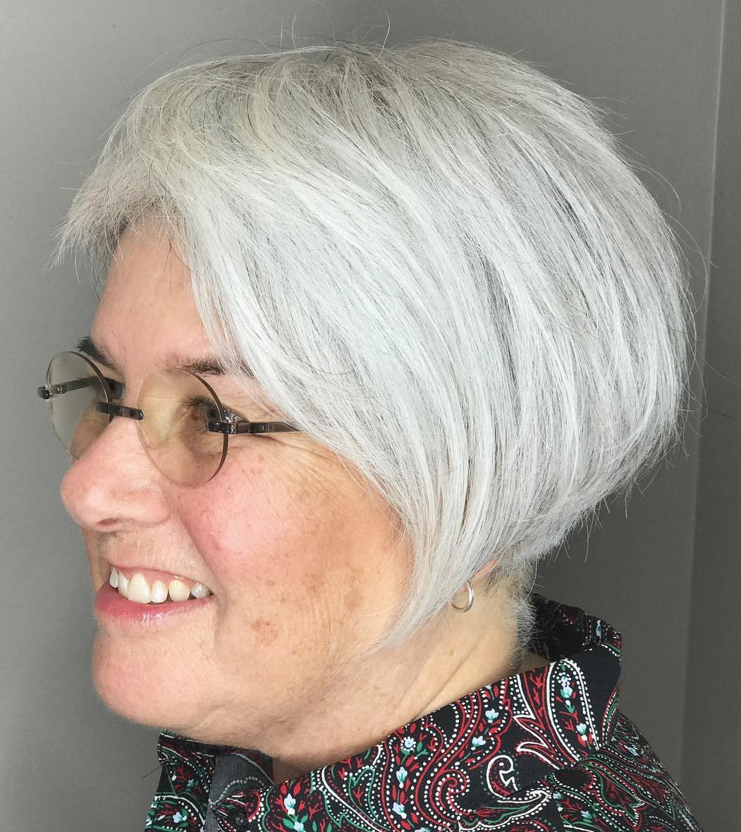 Short White Bob for Older Women with Glasses