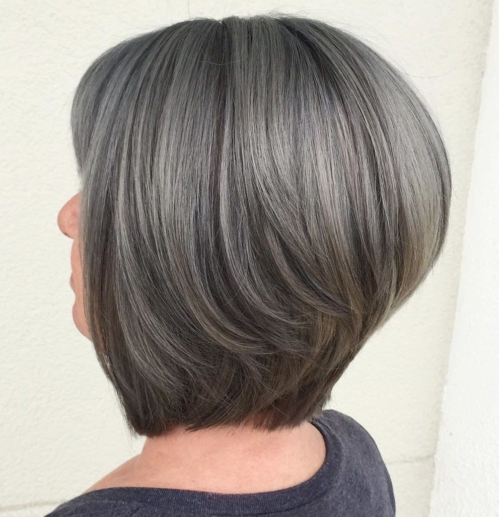 Stacked Brown and Dark Gray Balayaged Bob