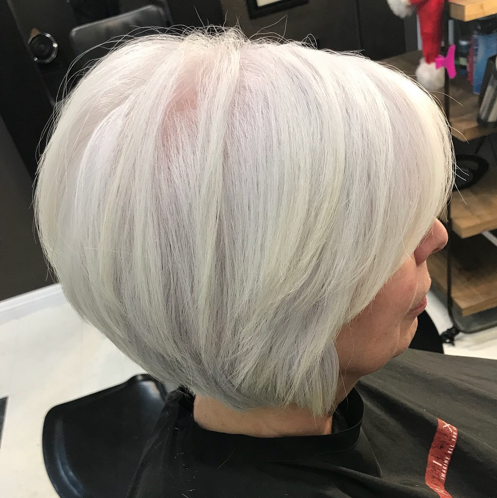 Voluminous White Gray Thin Bob over 60