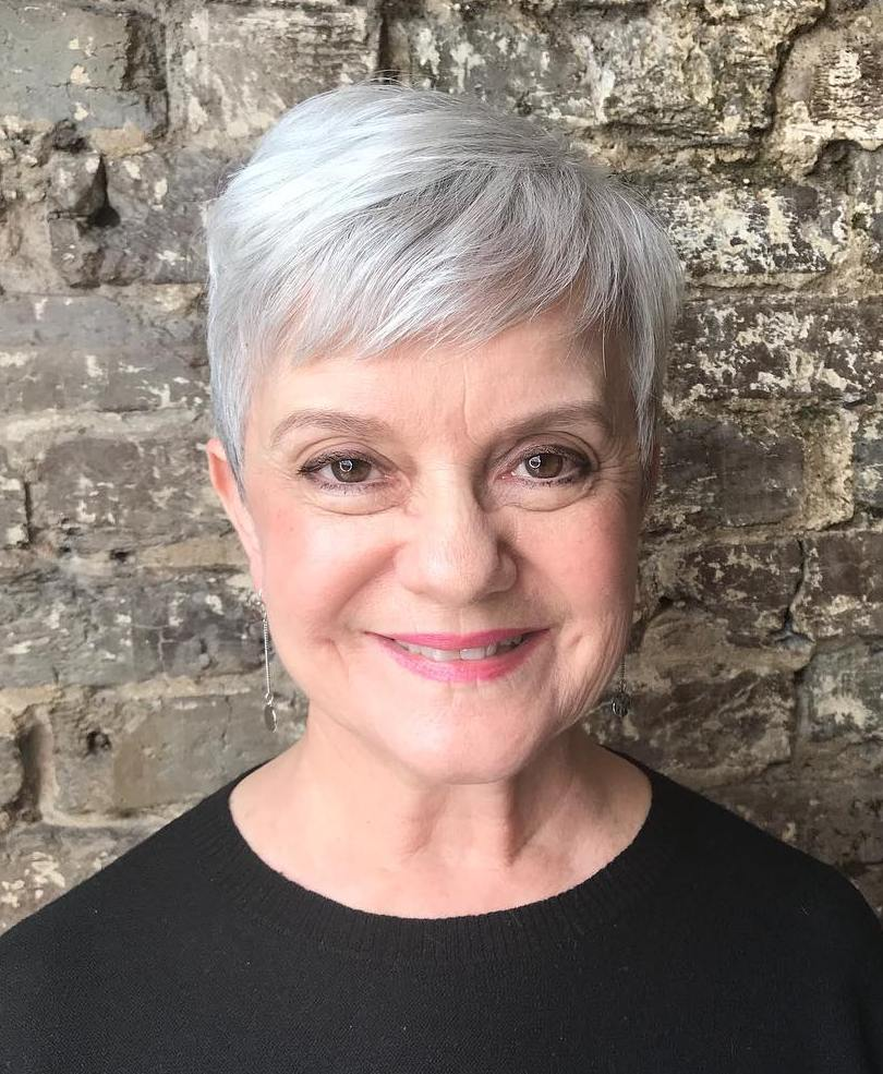 Over 60 Textured Silver Gray Pixie