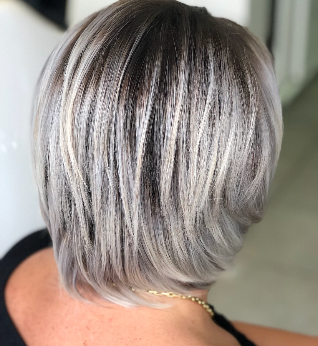 Feathered Gray Bob with Dark Roots and Lavender Undertones
