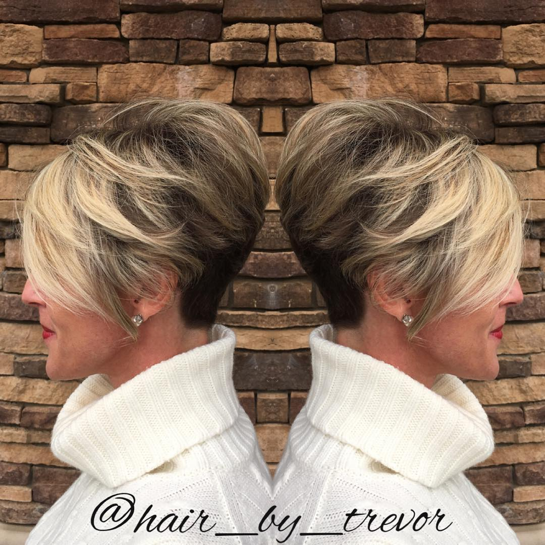 Balayaged Stacked Pixie with Nape Undercut and Long Side Bangs