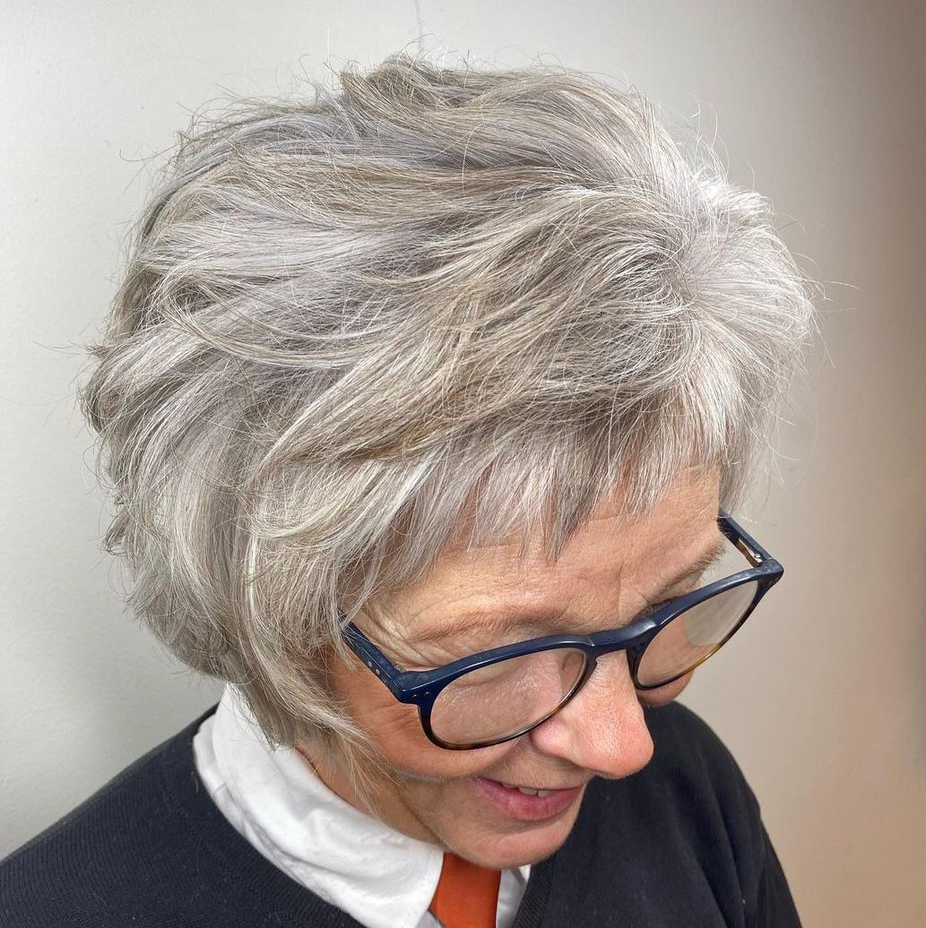 Over 50 Short Layered Haircut for Gray Hair